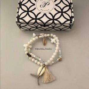 Plunder Nevada Bracelet cream & white beads